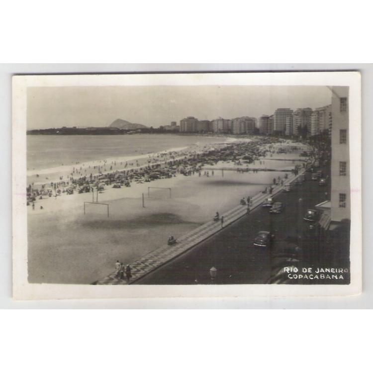 RJ41 - Cartão postal circulado, franquia mecânica, 1950,Praia de Copacabana. Rio de Janeiro. Wessel.