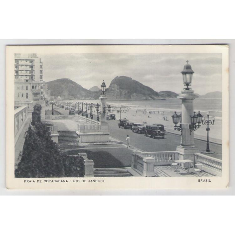 RJ45 - Cartão postal antigo, Praia de Copacabana. Carros, Hotel,Rio de Janeiro. Lito-Tipo Guanabara.
