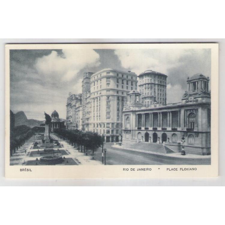RJ50 - Cartão postal antigo, Praça Floriano, Rio de Janeiro. Lito-tipo Guanabara.
