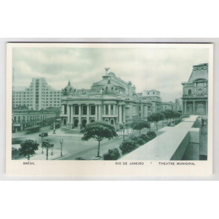 RJ58 - Cartão postal antigo, Teatro Municipal, Rio de Janeiro. Lito-tipo Guanabara.