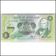 Escócia - (P.111g) 1 Pound, 1988, fe. Personalidade e Caravela.