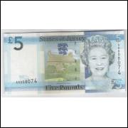 Jersey - (nova) 5 Pounds, Rainha Elizabeth II, fe.