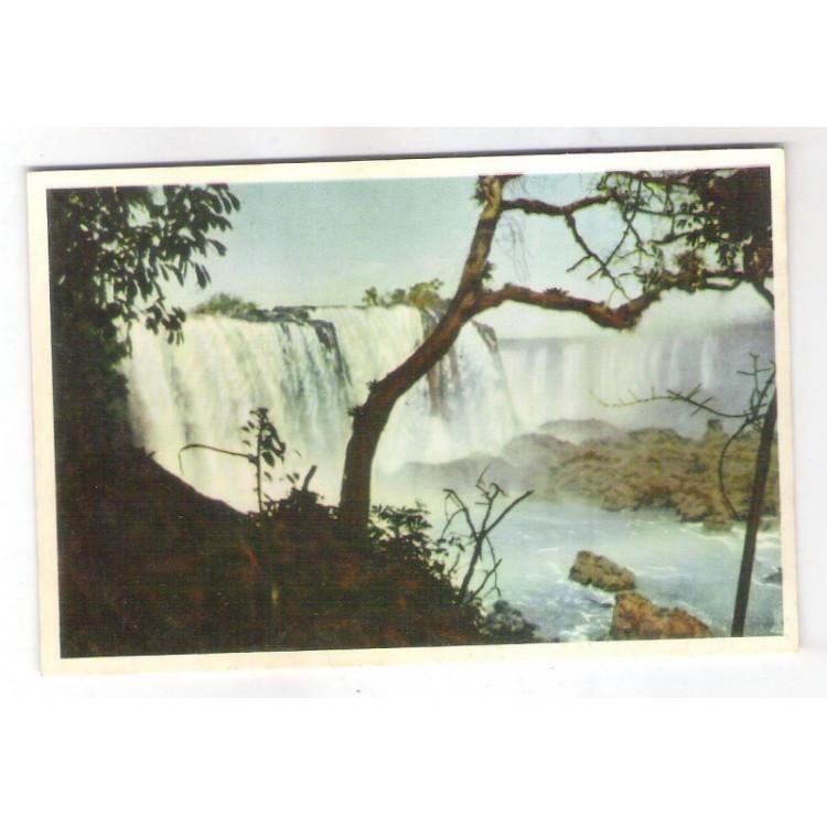 FI02 - Cartão postal antigo, Cataratas do Iguaçú. Livrarias Ghignone.