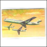 VR03 - Cartão postal da VARIG, bi-reatores Caravelle inagura a era do jato na aviação brasileira.