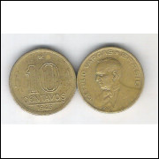 1943 -  10 Centavos, bronze-alumínio, mbc. Getúlio Vargas
