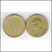 1945 -  10 Centavos, bronze-alumínio, sem sigla, mbc. Getúlio Vargas
