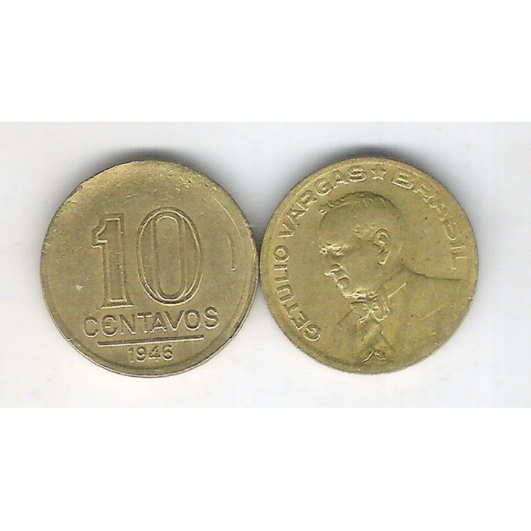1946 -  10 Centavos, bronze-alumínio, mbc. Getúlio Vargas
