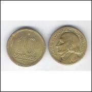 1949 -  10 Centavos, bronze-alumínio, mbc. José Bonifácio.