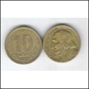 1950 -  10 Centavos, bronze-alumínio, mbc. José Bonifácio.