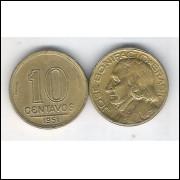 1951 -  10 Centavos, bronze-alumínio, soberba. José Bonifácio.