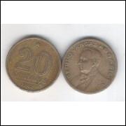 1942 -  20 Centavos, níquel rosa, mbc. Getúlio Vargas.