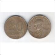 1943 -  20 Centavos, níquel rosa, mbc. Getúlio Vargas.