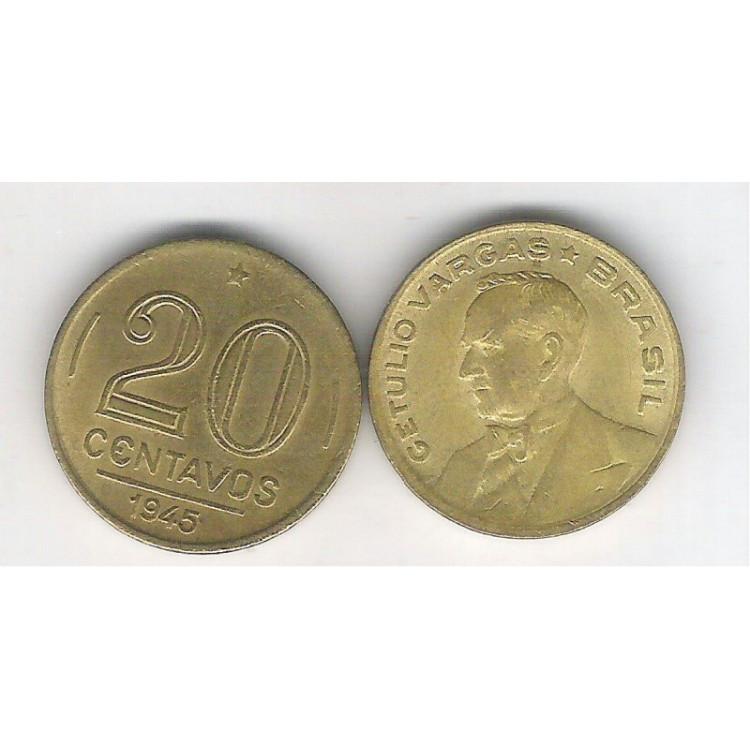 1945 - 20 Centavos, bronze-alumínio, sem sigla, FC. Getúlio Vargas.