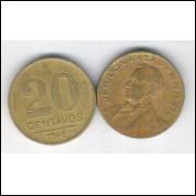 1946 - 20 Centavos, bronze-alumínio, mbc. Getúlio Vargas.
