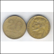 1948 - 20 Centavos, bronze-alumínio, mbc. Rui Barbosa.