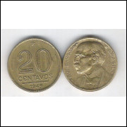 1949 - 20 Centavos, bronze-alumínio, mbc. Rui Barbosa.
