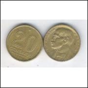 1951 - 20 Centavos, bronze-alumínio, mbc. Rui Barbosa.