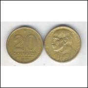1953 - 20 Centavos, bronze-alumínio, mbc. Rui Barbosa.