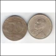 1943 - 50 Centavos, níquel rosa, mbc. Getúlio Vargas.
