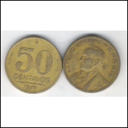 1946 - 50 Centavos, bronze-alumínio, mbc. Getúlio Vargas.