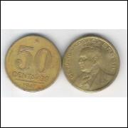 1947 - 50 Centavos, bronze-alumínio, mbc. Getúlio Vargas.