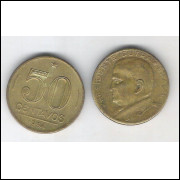 1954 - 50 Centavos, bronze-alumínio, mbc. Presidente Dutra.