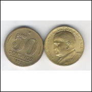 1955 - 50 Centavos, bronze-alumínio, FC. Presidente Dutra.