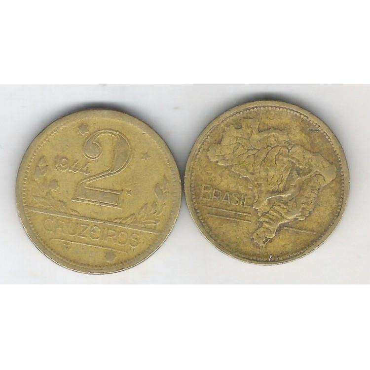 1944 - 2 Cruzeiros, bronze-alumínio, com sigla, mbc.