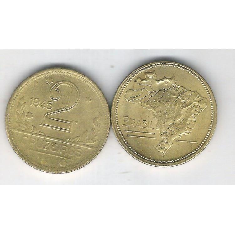 1945 - 2 Cruzeiros, bronze-alumínio, sem sigla, FC.