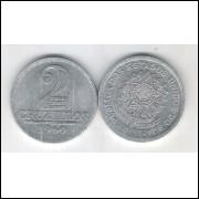 1960 - 2 Cruzeiros, alumínio, soberba.