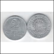 1961 - 2 Cruzeiros, alumínio, soberba.