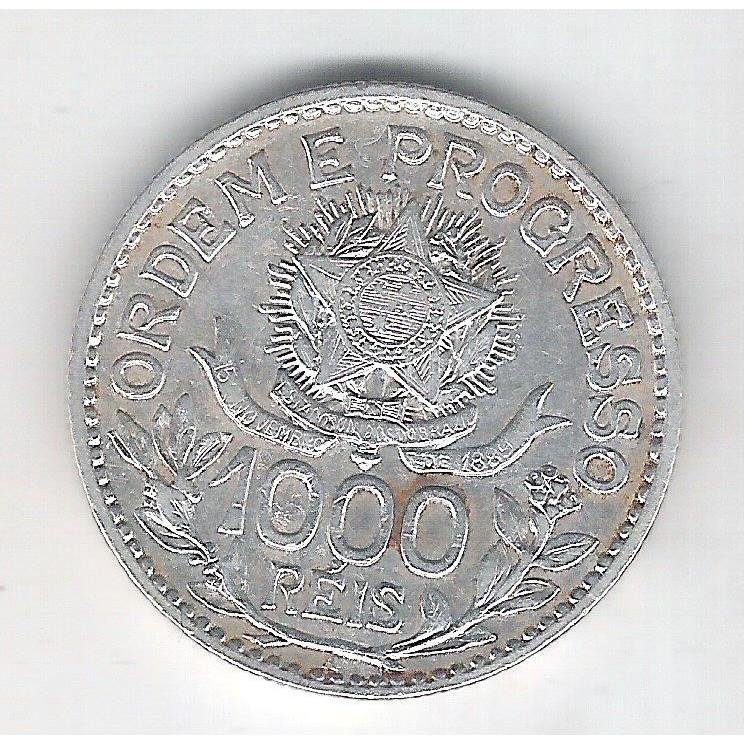 1913 - 1000 Réis, estrelas soltas, prata, mbc, Brasil-República.