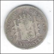 Espanha, 1 Peseta 1891, Prata - Diâmetro: 23 mm