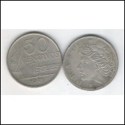 1975 - 50 Centavos, fc. Cupro-níquel, serrilhada.