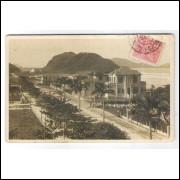 GR04 - Postal antigo, circulado em 1925, Santos, Guarujá, Praia.