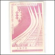 BP-154 Brasil 1970, VIII Congresso Eucarístico Nacional - Brasília. Religião. Carimbo 1o dia.