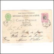 BP-060R Bilhete Postal, resposta (metade do duplo) de 100 Réis, circulado 1907, para Morro Velho.