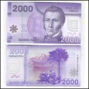 Chile - (P.162) 2000 Pesos, 2012 FB, fe. Polímero. Personalidade, Manuel Rodriguez. Pássaro.
