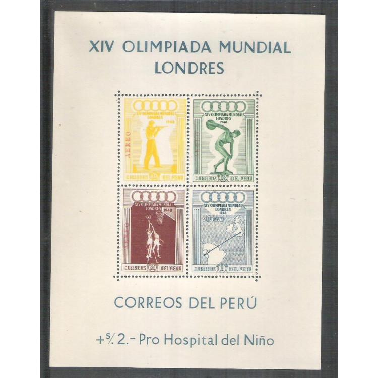 Peru, 1928, Olimpíadas de Londres, esporte, bloco, aéreo. Yv.1 - Sc. C78/81 a