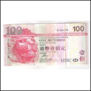 Hong Kong - (P.209e) 100 Dollars, 2008, s/fe. Cédula emitida pelo Banco HSBC.