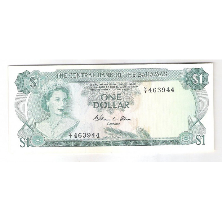 Bahamas - (P.35b) 1 Dollar, 1974, soberba. Rainha Elizabeth II. Fauna e flora marinha.