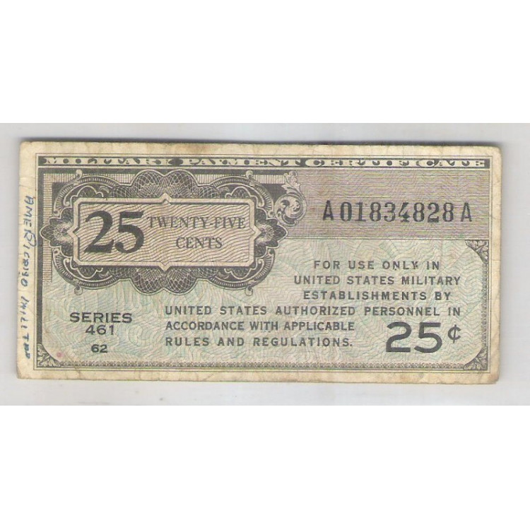 Estados Unidos - 25 Cents 1946 Military Payment.