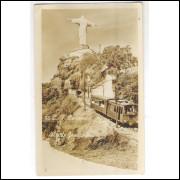RJ114 - Postal antigo, 88-Estrada de Ferro Corcovado. Cristo Redentor.
