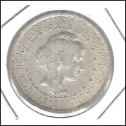 1912 - 1000 Réis, prata, estrelas ligadas,  mbc, Brasil-República.