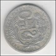 Peru, 1 Sol, 1925, prata, mbc.