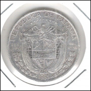Panamá, 1/2 Balboa, 1953, prata, mbc/s.