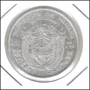 Panamá, 1/4 Balboa, 1953, prata, soberba.
