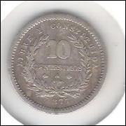 Uruguai, 10 Centesimos, 1877 A, mbc, prata.
