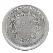 Portugal, 200 Réis, 1891, Carlos I prata, mbc.
