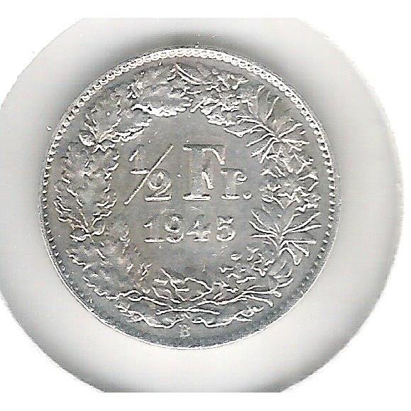 Suíça, 1/2 Franc, 1945, prata, mbc.